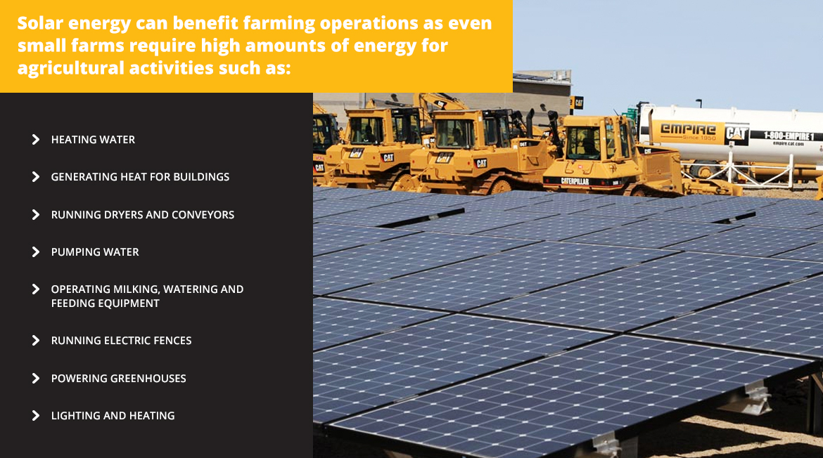 Solar energy can benefit farming operations that require high amounts of energy.